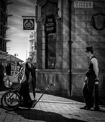 MIDDLE STREET (Len Spen) Tags: drinking walking hastings people skies clouds streets blackwhite weather town food