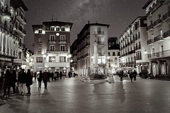 Plaza del Torico. Teruel, Spain (Mario & Debbie) Tags: town city ciudad pueblo stars nocturna night nocturne image blackwhite monochrome toro torico plaza aragon spain teruel