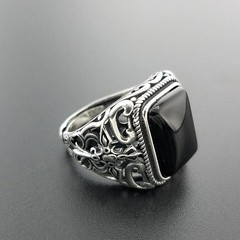Trendy Black Squre Gemstone Men's Ring (Yaman The Stranger) Tags: vintage trendy style stone silver ring pure onyx square mens men masculine luxury leisure highquality gift genuine gemstone fashion fancy exquisite expansion exotic elegant electronic cool contemporary brand black authentic alloccasions 925 sterling