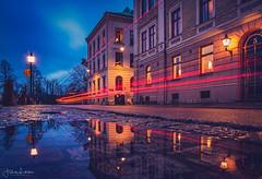 Streets of Gothenburg (Fredrik Lindedal) Tags: gothenburg göteborg streetview street streetvision streetlight water reflection reflections lamp longexposure longexpo streetsvision puddle puddlegram sky sweden sverige skyline lindedal