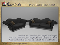 Pearls Parlor - Sofa Set - Black (Casey Tripsa) Tags: home garden expo 2020 homeandgardenexpo2020 vintage antique old grunge black sofa armchair secondlife second life laminak pearls parlor lounge living room rfl relay for