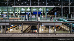 Den Haag, NL: Intermodal transportation hub, Den Haag Centraal, with bus, tram, metro and commuter lines (nabobswims) Tags: denhaag denhaagcentraal el elevated enhanced hochbahn ilce6000 lightroom luminositymasks metro mirrorless nl nabob nabobswims netherlands photoshop railwaystation rapidtransit sel18105g sncb sonya6000 station thehauge zuidholland southholland