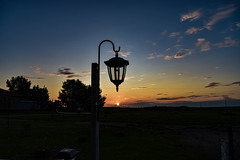 Sunset under the lamp (darletts56) Tags: sky blue cloud clouds sun sunset sundown dusk evening night silhouette black white orange yellow green grey lamp lamps tree trees home homes house houses building buildings village prairie country countryside reflection field fields