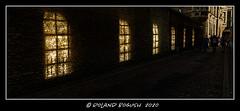 Borrowed light in the passage - sunlight streams through Senate House windows onto a wall on the far side of a public footpath. (Roland Bogush) Tags: sonyrx100mk7 cambridge
