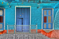 Trinidad Blues (emerge13) Tags: architecture colonialarchitecture cuba doors hdr textures trinidadsanctispirituscuba architecturaldetails blue cobblestonestreets colorfulhouses colors decay doorsandwindows puertas texture ventanas windows saariysqualitypictures tcp