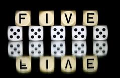 five (HansHolt) Tags: five crazytuesday 5 dice reflection mirror die spiegel letter alphabet yahtzee weerspiegeling dobbelsteen canonef100mmf28macrousm canoneos6d tabletop