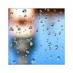 the tower is in the droplets on the window glass (Armin Fuchs) Tags: arminfuchs lavillelaplusdangereuse würzburg deutschhauskirche reflections raindrops droplets window glass blue sky church upsidedown square