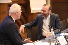 Jan Olbrycht z Manfredem Weberem, przewodniczącym grupy EPL w PE