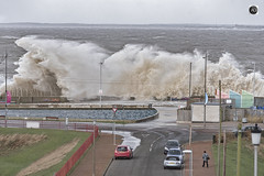 Along a wall of water. (alundisleyimages@gmail.com) Tags: storm weather wave breach rivermersey destructive force cars wirralnewbrighton seascape landscape unsettled action power seawall promenade