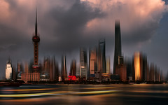 Shanghai. (Fabrizio Massetti) Tags: cina china clouds cambo cityscape nikond4s 2470f28 fabriziomassetti city sunrise editing shanghai creativeedit doubleexposure multipleexposure shanghaitower metropolis urban iconic famous modern water architecture asia colors red