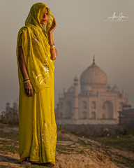 The Yellow Sari (Agra, India 2015) (Alex Stoen) Tags: 1dx agra alexstoen alexstoenphotography beauty canon canoneos1dx countryside ef70200mmf28lisusm elegance geotagged india portrait sunset tajmahal travel vacation woman yellowsari offcameraflash