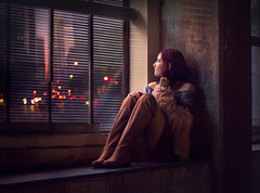 Looking Out at City Lights ({jessica drossin}) Tags: jessicadrossin city lights bokeh traffic urban los angeles skyscrapers cars roads window blinds vision looking boots girl teen woman pretty beautiful dreamy fine art dark blue wwwjessicadrossincom