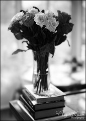 Valentine's Bouquet... (angelakanner) Tags: rokinon35mm manualfocus blackwhite bouquet roses books nex6