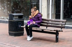 Can't wait until Easter (sasastro) Tags: easteregg cadburys chocolate bench purple outside street streetphotography candid life pentaxk5iis ipswich