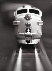 Eastman Stigmatic Train (rrunnertexas) Tags: train modeltrain trainengine bw blackandwhite film arista edu dallmeyer stigmatic brasslens vintagelens closeup macro 5 x 7 eastman viewcamera largeformat texas