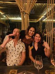 with Chris and Melisas (photo by Adama) (Olive Witch) Tags: tulum night january place pov abeerhoque restaurant geo indoors group 2020 melbday jan20 mexico