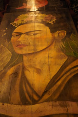 Frida Kahlo at the table (Olive Witch) Tags: mexico night january indoors jan20 pov abeerhoque restaurant geo tulum fem place melbday painting 2020