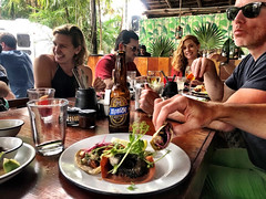 tacos, Channing, Robb, Renee, and Brendan (photo by Chris) (Olive Witch) Tags: mexico january place outdoors abeerhoque restaurant geo group day 2020 melbday jan20 tulum