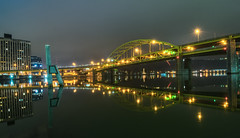 Pittsburgh at Night (2) (tquist24) Tags: alleghenyriver fortduquesnebridge hdr nikon nikond5300 outdoor pennsylvania pittsburgh bridge city clouds downtown geotagged light lights longexposure night outside reflection reflections river sky starburst urban water
