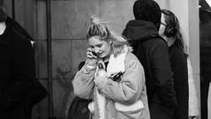 Happy Conversation (byronv2) Tags: edinburgh scotland blackandwhite blackwhite newtown princesstreet woman phone cellphone mobilephone conversation talking happy smile smiling walking candid peoplewatching street edimbourg