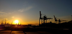 Il sole ad Est (faby.c) Tags: palermo harbour porto sunrise alba sicily vessel navi boats barche container sun sole est east cielo sky panoramic panoramica panorama gru towercrane italia italy landscape dawn early morning