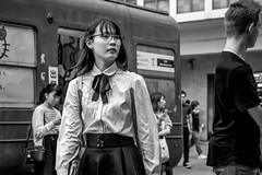Tokyo 2019 (burnt dirt) Tags: shibuya tokyo japan asia japanese asian candid documentary street photography downtown metro urban city scramble crossing outdoor people person fujifilm xt3 fujinon 50mm f2 bw blackandwhite monotone monochrome woman girl smile laugh train station style fashion life real crowd tourist emotion expression portrait close nippon