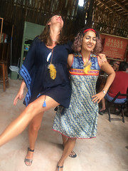 posing with Cynthia (2) (Olive Witch) Tags: mexico january fem jan20 pair abeerhoque restaurant geo day outdoors place melbday tulum 2020