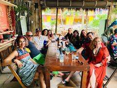 with Brendan, Chris, Melissa, Gabby, Drea, Melissa, Cynthia, Rob, and Renee (photo by Adama) (Olive Witch) Tags: mexico january place outdoors abeerhoque restaurant geo group day 2020 melbday jan20 tulum
