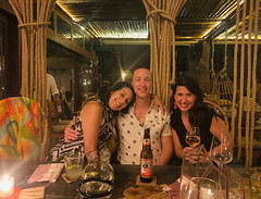 Melissa, Chris, and Melissa (photo by Adama) (Olive Witch) Tags: tulum night january place pov abeerhoque restaurant geo indoors group 2020 melbday jan20 mexico