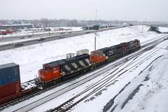 Zebra last (Michael Berry Railfan) Tags: cn canadiannational montreal quebec cn401 train freighttrain ge generalelectric c408 dash8 dash840c sd70i gp402lw cn2019 cn5608 cn9410