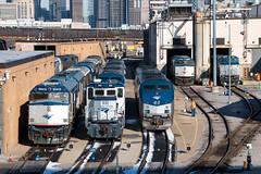 Silver n' Blue (Carlos Ferran) Tags: amtrak amtk chicago il illinois locomotive shop motive power loco emd ge genset p42dc sunny shops city urban