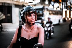 A stop-by (Cadicxv8) Tags: street streetphotography vietnam saigon portrait people girl woman helmet motorcycle motorbike beautiful