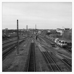 Saturday at the Central Station (III) (Maximilian Busl) Tags: railway cityscape blackandwhite rollei rolleicord film analog germany hof bayern deutschland