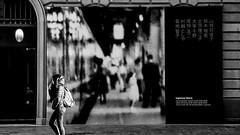 Japanese exhibition... (Renato Pizzutti) Tags: japan exhibition mostrafotografica street bianconero ragazza cartellone renatopizzutti