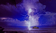 The sky is often beautiful, but sometimes scary! (Jacques Rollet (little available)) Tags: éclair lightningbolt storm sea night nuit ciel sky orage vedette boat bateau