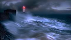 storm ciara over porthcawl (shutterbug_uk2012) Tags: uk united kingdom storm ciara porthcawl wales waves lighthouse stormy seas seascape long exposure wall rocks moody blue hour nikon d850