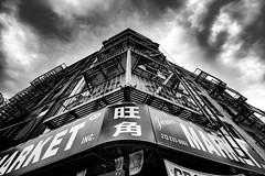 Chinatown (LeifEureniusPhotogrpahy) Tags: mono monochrome blackandwhite bnw bw monochromatic architecture city urban cityscape newyork chinatown perspective sky building