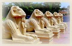 walkin' in  vegas (milomingo) Tags: outdoor vegas lasvegas southwest arid photoborder white cream beige frame texture statue perspective angle egyptian multiple 1100a thematic concept statuary luxor motif