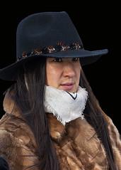 Portrait (D80_550542) (Itzick) Tags: candid copenhagen color colorportrait colour brunette youngwoman hat streetphotography scarf longhair face facialexpression denmark d800 itzick