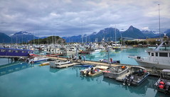 Summer at the Harbor . . . (JLS Photography - Alaska) Tags: alaska alaskalandscape summer water sea seaside mountains valdez valdezalaska jlsphotographyalaska boat ship people clouds activity vacation recreation travel