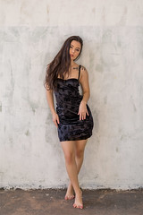 Sexy Magda (piotr_szymanek) Tags: magda magdac woman young skinny face portrait studio brunette longhair tatoo legs feet dress mini eyesoncamera