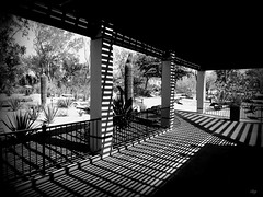 white hot shadow (milomingo) Tags: monochrome bw blackandwhite contrast shadow outdoor geometry linear southwest arid nevada architecture column desert vignette vegas lasvegas garden building vivid veranda porch blackwhite blackwhitephotos stripe striped