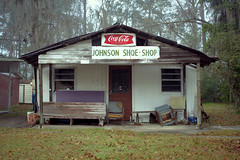 Shoes repaired here, better than new (Mike McCall) Tags: copyright2020mikemccall photography photo image usa culture southern america thesouth unitedstates northamerica south georgia history heritage tradition county long ludowici johnson shoe shop repair business africanamerican enterprise commerce