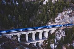 The Blue Streak (The Hobbit Hole) Tags: djimavicpro bahn siterailway droneshots aerialphotography semmering viaduct aerial viadukt adlitzgraben unseco fromabove heritage winter mavic2pro austriaösterreich dji