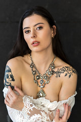 Sexy Magda (piotr_szymanek) Tags: magda magdac woman young skinny face portrait studio brunette longhair tatoo necklace eyesoncamera boobs naturallight white blouse transparent