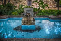 Fountain & Pool at The Alamo (donnieking1811) Tags: texas sanantonio alamo fountain pool water blue shrubs greenery building trees hdr canon 60d lightroom photomatixpro