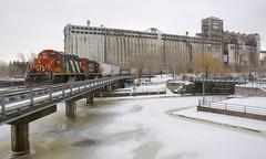 CN 4139 & CN 7250 (Michael Berry Railfan) Tags: cn4139 cn7250 cn canadiannational grainelevator5 train freighttrain portofmontreal oldport oldmontreal montreal quebec winter snow gp9 gmd emd