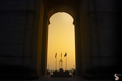 We owe the light to them (Shikher Singh) Tags: indiagate amarjawan monument newdelhi soldier memorial defence flags canopy light dawn morning shikhersimagery