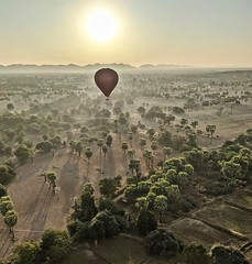 Bagan Mandalay Burma 26th January 2020 (loose_grip_99) Tags: bagan mandalay burma pagan myanmar asia balloon flying above plain sugar palm mountains sunrise contrejour contrajour january 2020 pixel3