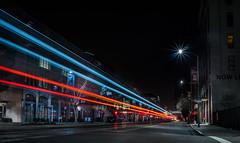 amtrak's last capitol corridor train for the night to sacramento (pbo31) Tags: oakland california eastbay alamedacounty nikon d810 color night dark black february 2020 boury pbo31 jacklondonsquare train rail tracks lightstream infinity amtrak capitolcorridor platform red roadway